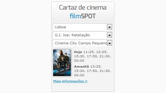 Widget: Cartaz de Cinema filmSPOT no seu website