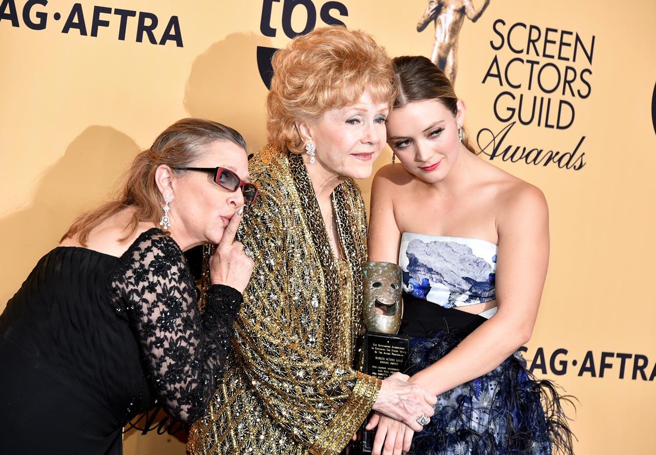 SAG Awards 2015 28/30: Carrie Fisher, Debbie Reynolds e Billie Lourd (Foto Theo Wargo/WireImage)