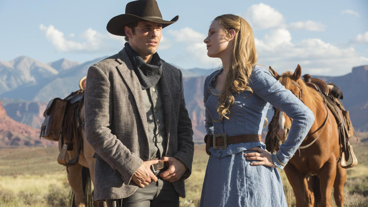 "Westworld - primeira temporada 5/7: James Marsden e Evan Rachel Wood na série ""Westworld""."