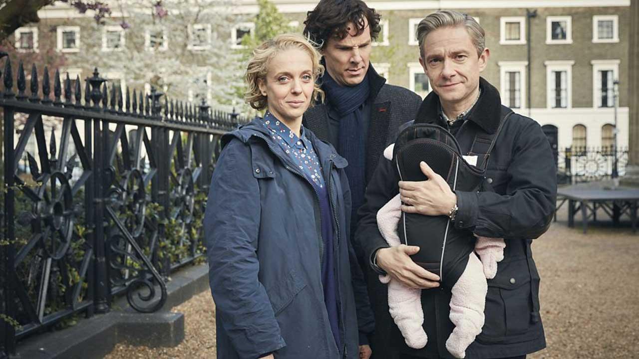 Sherlock - Temporada 4 2/5: Mary Watson, Sherlock Holmes e John Watson, interpretados por Amanda Abbington, Benedict Cumberbatch e Martin Freeman