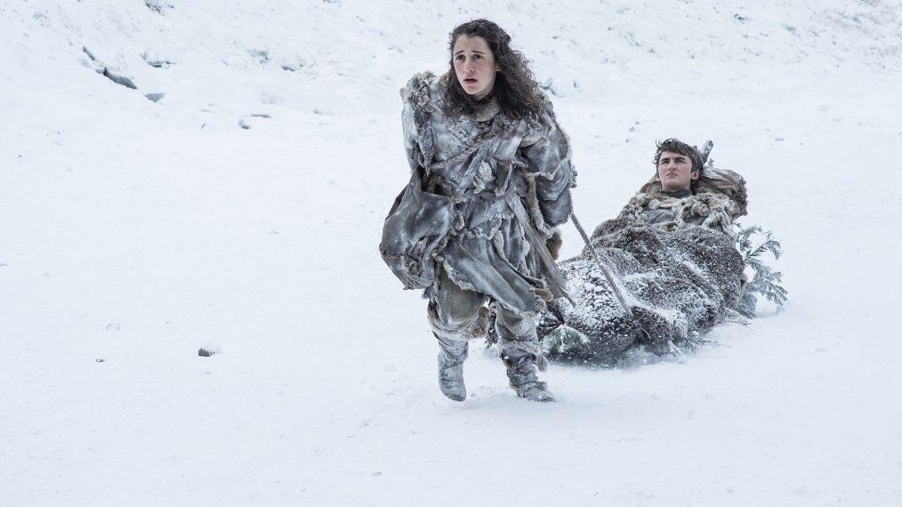 """Primeiro olhar - temporada 7 de """"A Guerra dos Tronos"""" 10/15: Ellie Kendrick (Meera Reed) e Isaac Hempstead Wright (Bran Stark)"""