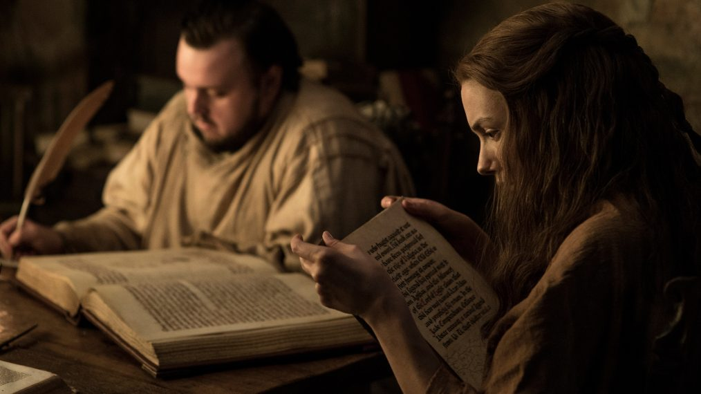 """Primeiro olhar - temporada 7 de """"A Guerra dos Tronos"""" 11/15: John Bradley (Samwell Tarly) e Hannah Murray (Gilly)"""