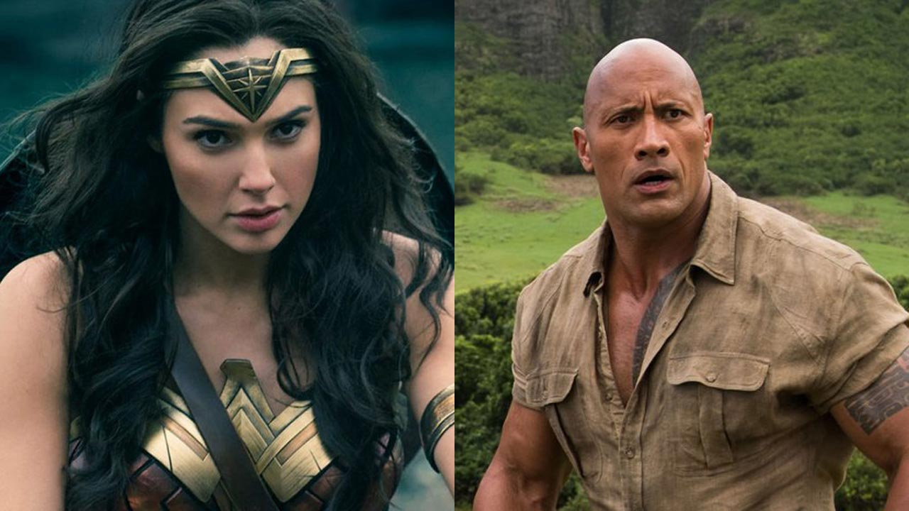 "Gal Gadot ao lado de Dwayne Johnson em ""Red Notice"""