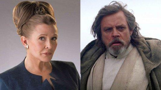 """Imagem mostra Carrie Fisher e Mark Hamill juntos durante as filmagens de """"Star Wars: Episódio VIII"""""""